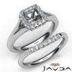Asscher Diamond U Prong Engagement Semi Mount Ring Bridal Set 14k White Gold 0.4Ct - javda.com