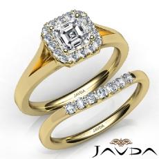 Split Shank Halo Pave Bridal Set Asscher diamond engagement Ring in 14k Gold Yellow