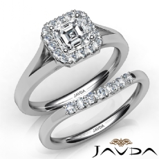 Split Shank Halo Pave Bridal Set Asscher diamond engagement Ring in 14k Gold White