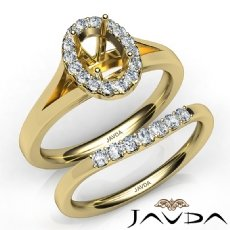 Oval Diamond U Prong Engagement Semi Mount Ring Bridal Set 14k Gold Yellow  (0.42Ct. tw.)