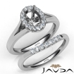 Oval Diamond U Prong Engagement Semi Mount Ring Bridal Set 14k White Gold 0.42Ct - javda.com