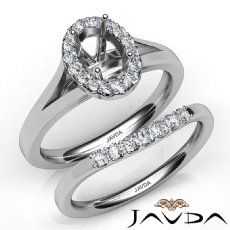 Oval Diamond U Prong Engagement Semi Mount Ring Bridal Set 14K White Gold 0.42Ct