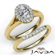 Split-Shank Halo Bridal Set Oval diamond engagement Ring in 14k Gold Yellow