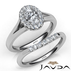 Split-Shank Halo Bridal Set Oval diamond engagement Ring in 14k Gold White
