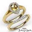 Pear Diamond U Prong Engagement Semi Mount Ring Bridal Set 18k Yellow Gold 0.45Ct - javda.com