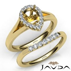 Pear Diamond U Prong Engagement Semi Mount Ring Bridal Set 14k Gold Yellow  (0.45Ct. tw.)