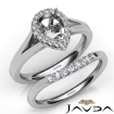 Pear Diamond U Prong Engagement Semi Mount Ring Bridal Set 14k White Gold 0.45Ct - javda.com