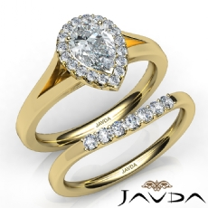 Halo Bridal Set Cathedral Pear diamond engagement Ring in 14k Gold Yellow