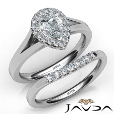 Halo Bridal Set Cathedral Pear diamond engagement Ring in 14k Gold White