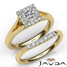 Halo Pave Setting Bridal Princess diamond engagement Ring in 14k Gold Yellow