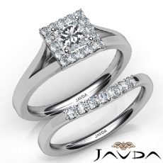 Halo Pave Setting Bridal Princess diamond engagement Ring in 14k Gold White