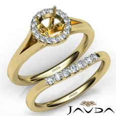 Round Diamond U Prong Engagement Semi Mount Ring Bridal Set 14k Gold Yellow  (0.42Ct. tw.)