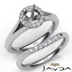 Round Diamond U Prong Engagement Semi Mount Ring Bridal Set 14k White Gold 0.42Ct - javda.com