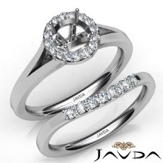 Round Diamond U Prong Engagement Semi Mount Ring Bridal Set 14K W Gold 0.42Ct