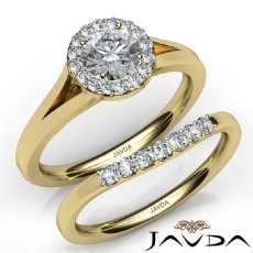 Classic Bridal Set Halo Pave Round diamond engagement Ring in 14k Gold Yellow