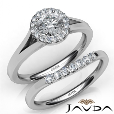 Classic Bridal Set Halo Pave Round diamond engagement Ring in 14k Gold White