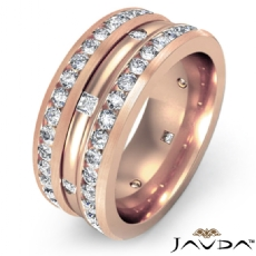 Princess & Round Diamond Men's Eternity Wedding Band in 18k Rose Gold  (1.75Ct. tw.)