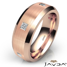 Matte Bevel Edge Men's Diamond Eternity Wedding Band 18k Rose Gold  (0.5Ct. tw.)