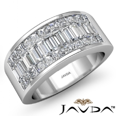 Women's Wedding Band 14k W Gold Princess Baguette Invisible Diamond Ring 2.35Ct