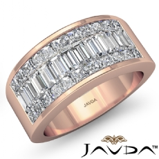 Women's Wedding Band 14k Rose Gold Princess Baguette Invisible Diamond Ring  (2.35Ct. tw.)