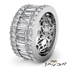 Women's Wedding Ring Baguette Round Diamond Eternity Band Platinum 950  (5.7Ct. tw.)