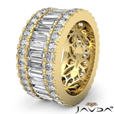 Women's Wedding Ring Baguette Round Diamond Eternity Band 18k Gold Yellow  (5.7Ct. tw.)