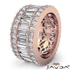Women's Wedding Ring Baguette Round Diamond Eternity Band 14k Rose Gold  (5.7Ct. tw.)