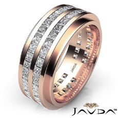 Channel Set Princess Diamond Men's Eternity Wedding Band 14k Rose Gold  (4Ct. tw.)