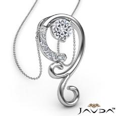 0.28Ct Graduated Diamond Pendant Necklace In 14k White Gold 18 Inch Chain