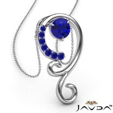 0.28Ct Graduated Sapphire Pendant Necklace In 14k White Gold 18 Inch Chain