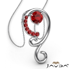0.28Ct Graduated Ruby Pendant Necklace In 14k White Gold 18 Inch Chain
