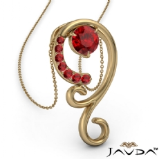 <Dcarat> Graduated Ruby Pendant Necklace In 14k Gold Yellow 18 Inch Chain