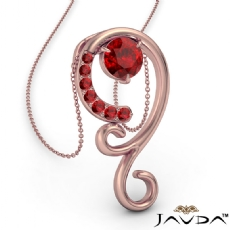 <Dcarat> Graduated Ruby Pendant Necklace In 14k Rose Gold 18 Inch Chain