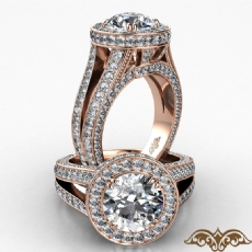 Halo Split Shank Bridge Accent Round diamond  Ring in 18k Rose Gold