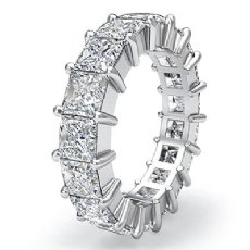 Princess Diamond Shared Prong Eternity Women's Band 14k White Gold Ring 4.25Ct