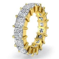 Princess Diamond Shared Prong Eternity Women's Band 18k Gold Yellow Ring  (4.25Ct. tw.)