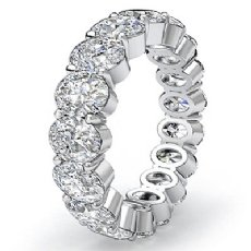 Oval Diamond Eternity Women's Wedding Band Engagemet Ring 14k White Gold 4.15Ct