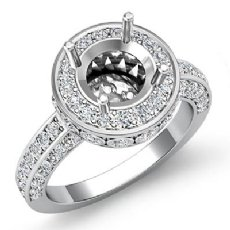 0.70CT Diamond Engagement Round Ring 14K White Gold Halo Pave Setting Semi Mount