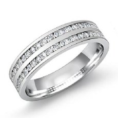 Round Channel Set Diamond Men's Half Wedding Band in 14k White Gold 0.80 Ct