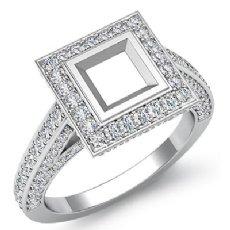 1.25Ct Halo Setting Diamond Engagement Princess Semi Mount Ring 14K White Gold
