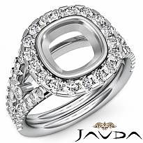 1.1CT Diamond Engagement Ring Cushion Semi Mount 14K White Gold Halo Setting