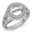 Diamond Engagement Ring Round Semi Mount Halo Pave Setting 14k White Gold 0.8Ct - javda.com