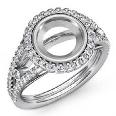 Diamond Engagement Ring Round Semi Mount Halo Pave Setting 14k White Gold 0.80Ct