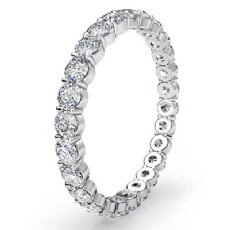 Womens Eternity Wedding Band 14k White Gold Round Shared Prong Diamond Ring 1Ct