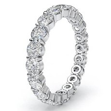 Round Cut Shared Prong Diamond Eternity Wedding Band Womens Ring 14k W Gold 2Ct