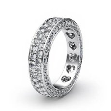 2 Row Women's Wedding Band Pave Diamond Heart Eternity 14k White Gold Ring 2Ct