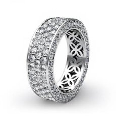 3 Row Women's Anniversary Band 14k White Gold Pave Eternity Ring Diamond 2.75Ct