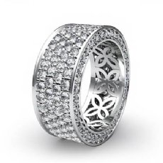 4 Row Pave Eternity Round Diamond Ring Womens Wedding Band 14k White Gold 3.5Ct