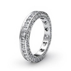 Women Anniversary Ring Pave Eternity Diamond Wedding Band 14k White Gold 1.25Ct