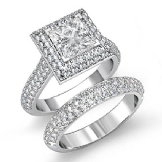 2 Row Halo Bridal Set Princess diamond engagement Ring in 14k Gold White